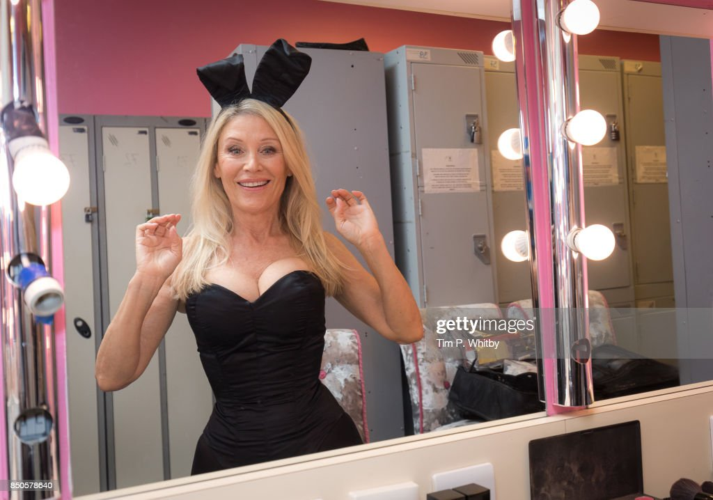 Former Playboy Bunny Angie Best prepares backstage ahead of her return as the iconic Bunny Mother exclusively at the Telling Tales event at Playboy Club London on September 21, 2017 in London, England.