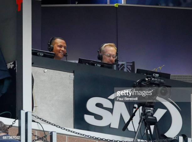 Former player Alex Rodriguez works the broadcast booth with broadcaster Joe Buck at an interleague MLB baseball game between the New York Mets and...