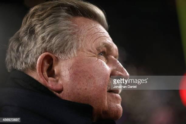 Former player and coach Mike Ditka of the Chicago Bears waits to be introduced during a ceremony retiring his number at half-time of a game between...