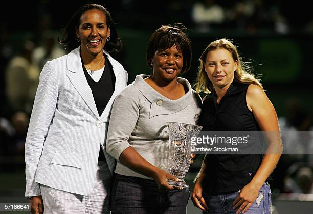 Former player and current Board Member of the Sony Ericsson WTA Tour Leslie Allen former player and mentor Lori McNeil and tennis player Vera...