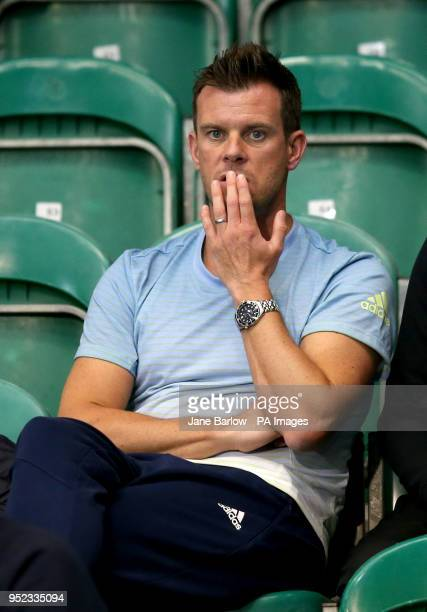 Former player and Davis Cup captain Leon Smith watches as Great Britain's Dan Evans plays against Edward Corrie during day one of the ATP Challenger...