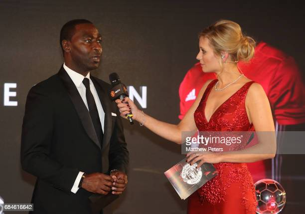 Former player Andy Cole of Manchester United is interviewed by presenter Rachel Riley at the Manchester United annual Player of the Year awards at...