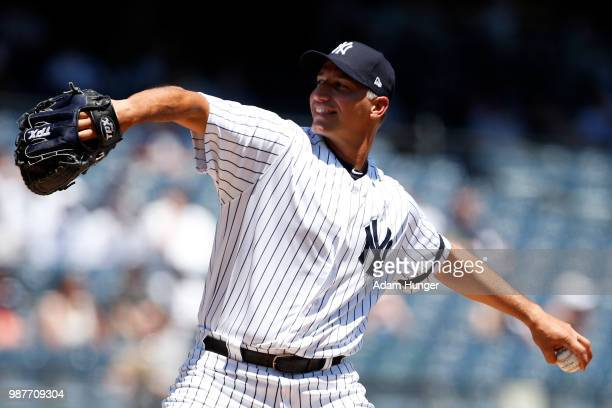 Former player Andy Pettitte of the New York Yankees in action during the New York Yankees 72nd Old Timers Day game before the Yankees play against...