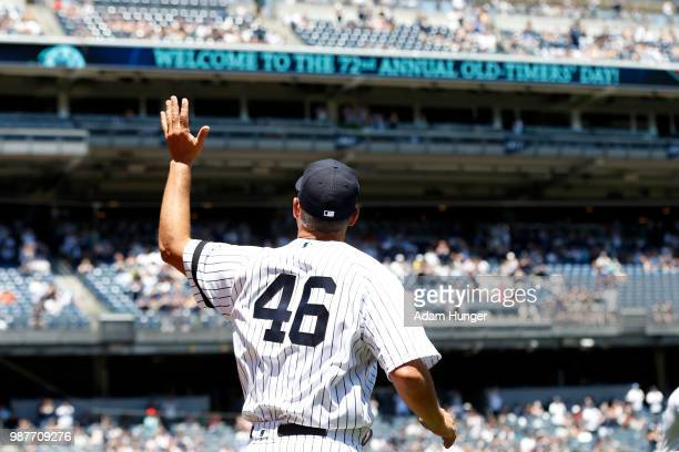 Former player Andy Pettitte of the New York Yankees is introduced during the New York Yankees 72nd Old Timers Day game before the Yankees play...