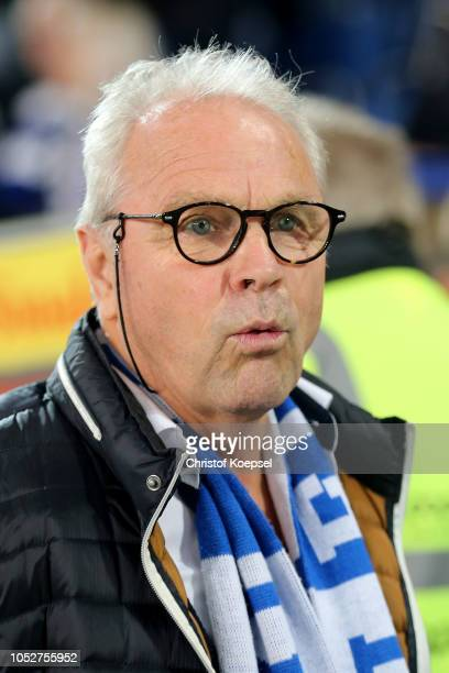 Former player Bernhard Dietz of Duisburg looks on prior to the Second Bundesliga match between MSV Duisburg and FC St Pauli at...