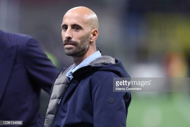 Former player, Borja Valero, looks on before the Serie A match between Fc Internazionale and Juventus Fc. The match ends in a tie 1-1.