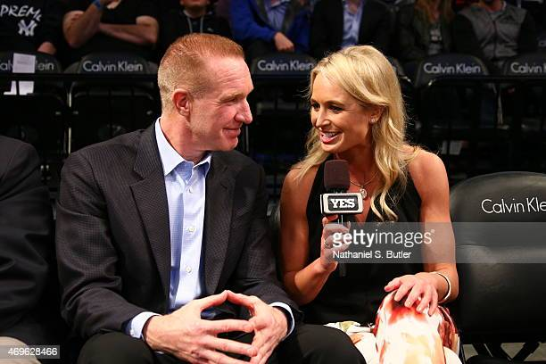 Former player Chris Mullin interviewed by Sarah Kustok of the YES Network during the game between the Chicago Bulls and Brooklyn Nets on April 13...