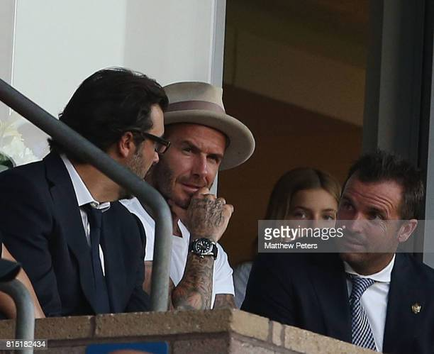 Former player David Beckham of Manchester United watches from the stand during the preseason friendly match between LA Galaxy and Manchester United...