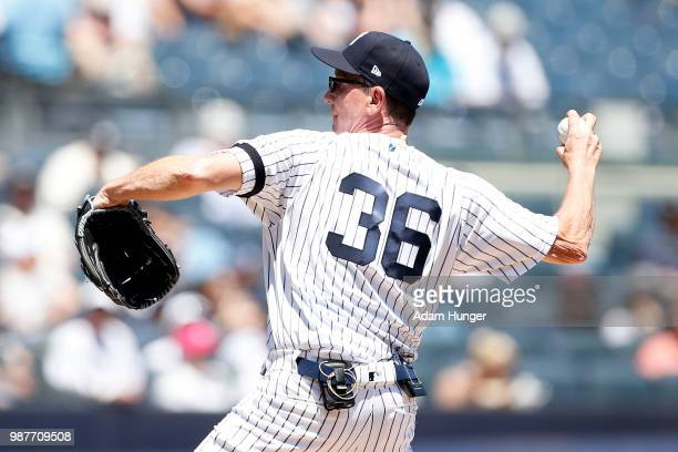 Former player David Cone of the New York Yankees in action during the New York Yankees 72nd Old Timers Day game before the Yankees play against the...