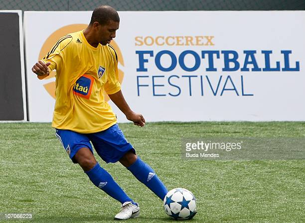 Former player Djalminha in action during a match between Brazil and Argentina as part of the Soccerex Global Convention at Copacabana Beach on...