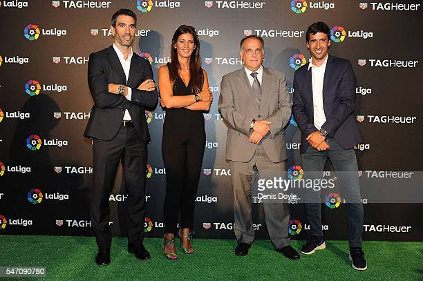 Former player Fernando Sanz and Raul Gonzalez accompany Blanca Panzano Managing Director Spain of TAG Heuer and Javier Tebas President of La Liga...