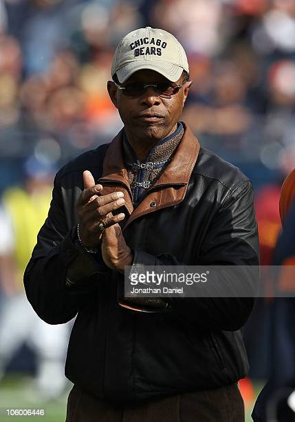 Former player Gayle Sayers of the Chicago Bears is introducted to the crowd before a game against the Washington Redskins at Soldier Field on October...