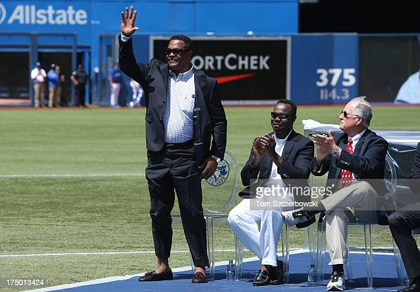 Former player George Bell attends a pregame ceremony for Carlos Delgado of the Toronto Blue Jays who is honored by having his name placed on The...