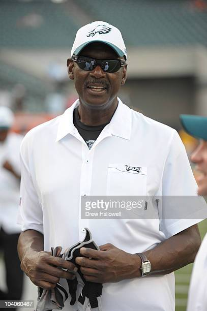 Former player Harold Carmichael of the Philadelphia Eagles stands on the sideline before the game against the Cincinnati Bengals on August 20 2010 at...