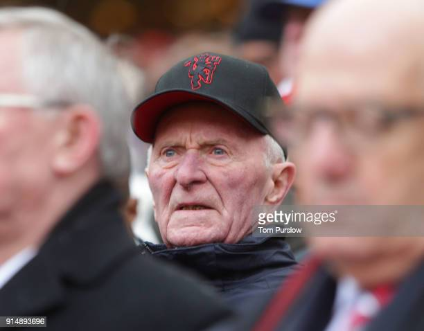 Former player Harry Gregg of Manchester United attends a service to commemorate the 60th anniversary of the Munich Air Disaster at Old Trafford on...