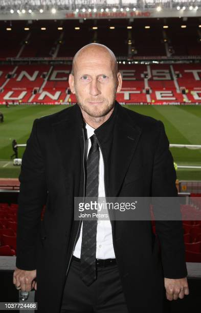 Former player Jaap Stam of Manchester United poses after the Premier League match between Manchester United and Wolverhampton Wanderers at Old...