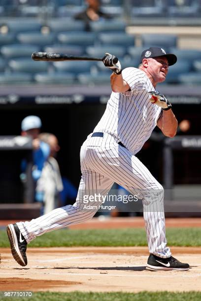 Former player Jason Giambi of the New York Yankees in action during the New York Yankees 72nd Old Timers Day game before the Yankees play against the...