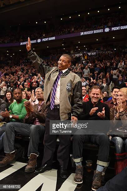 Former player Muggsy Bogues during the game against the Atlanta Hawks and Toronto Raptors on January 16 2015 at the Air Canada Centre in Toronto...