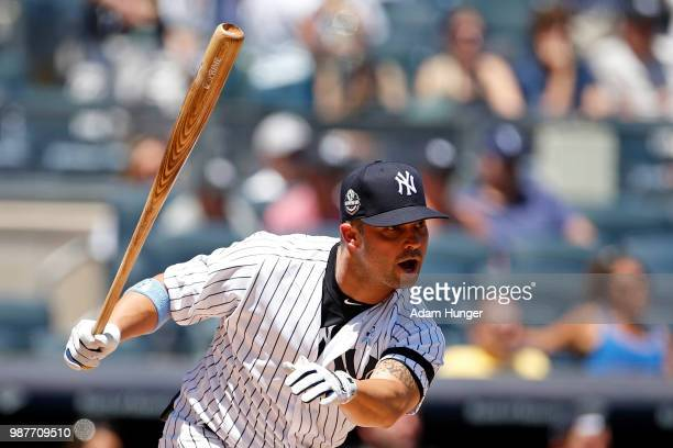 Former player Nick Swisher of the New York Yankees in action during the New York Yankees 72nd Old Timers Day game before the Yankees play against the...