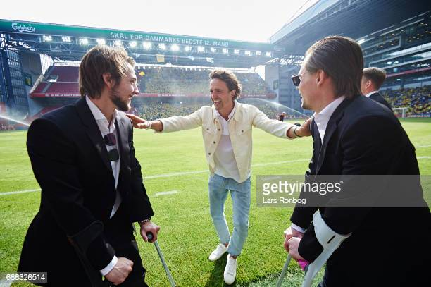 Former player of FC Copenhagen Thomas Delaney speaks to Rasmus Falk of FC Copenhagen and Peter Ankersen of FC Copenhagen prior to the Danish Cup...