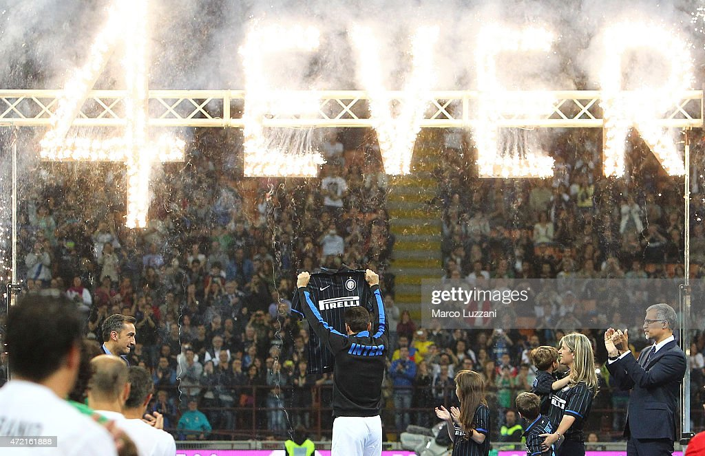 Former player of Fc Internazionale Javier Zanetti is honored by having his #4 jersey retired during the game during the Zanetti and friends Match for Expo 2015 at Stadio Giuseppe Meazza on May 4, 2015 in Milan, Italy.