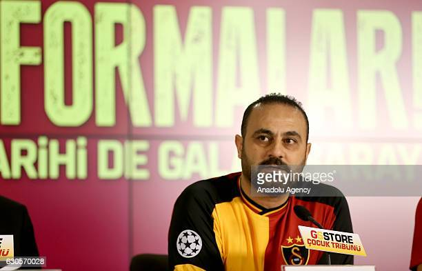 Former player of Galatasaray Hasan Sas delivers a speech during an introductory meeting of Galatasaray's retro jerseys at Turk Telekom Arena in...