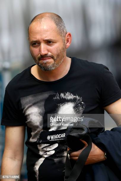 Former player Oliver Neuville of Moenchengladbach is seen prior to the Bundesliga match between Borussia Moenchengladbach and FC Augsburg at...
