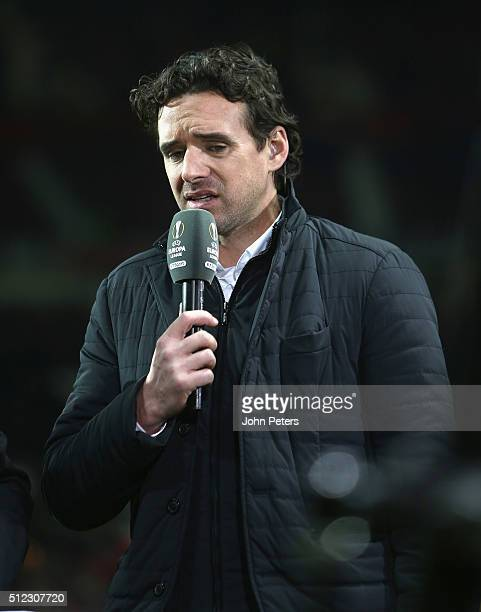 Former player Owen Hargreaves of Manchester United speaks on television at halftime during the UEFA Europa League match between Manchester United and...