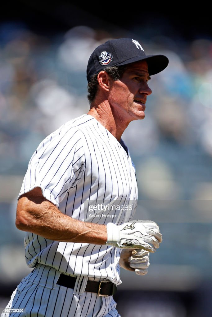 Former player Paul O'Neill of the New York Yankees in action during the New York Yankees 72nd Old Timers Day game before the Yankees play against the Tampa Bay Rays at Yankee Stadium on June 17, 2018 in the Bronx borough of New York City.