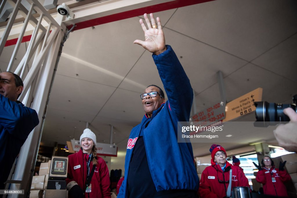 Former player Rod Carew of the Minnesota Twins welcomes fans prior to the game against the Seattle Mariners on April 5, 2018 at Target Field in Minneapolis, Minnesota. The Twins defeated the Mariners 4-2. (Photo by Brace Hemmelgarn/Minnesota Twins/Getty Images) Rod Carew
