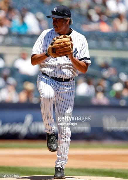 Former player Ron Guidry of the New York Yankees in action during the New York Yankees 72nd Old Timers Day game before the Yankees play against the...