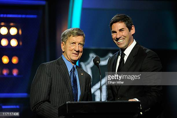 Former player Ted Lindsay and Mathieu Schneider present during the 2011 NHL Awards at The Pearl concert theater at the Palms Casino Resort June 22...