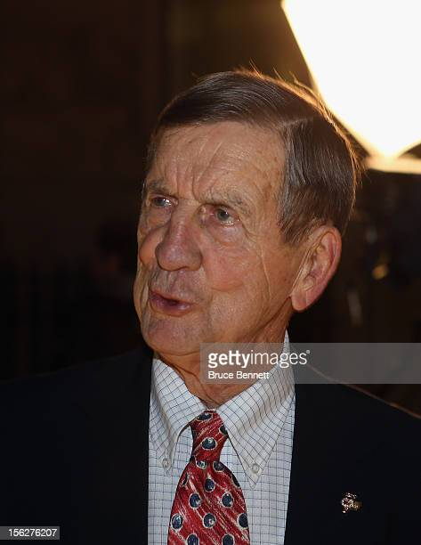 Former player Ted Lindsay arrives for the Hockey Hall of Fame induction ceremony at Brookfield Place on November 12 2012 in Toronto Canada
