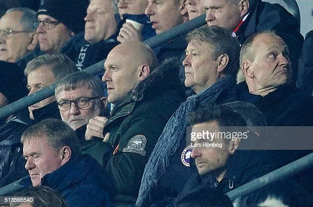 Former player Thomas Gravesen and Age Hareide national team coach of Denmark looks on from the main stand during the Danish Alka Superliga match...