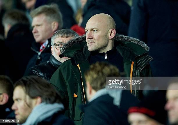 Former player Thomas Gravesen looks on from the main stand during the Danish Alka Superliga match between FC Midtjylland and FC Copenhagen at MCH...