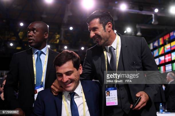 Former players Clarence Seedorf Iker Casillas and Luis Figo attend the 68th FIFA Congress at the Moscow Expocentre on June 13 2018 in Moscow Russia