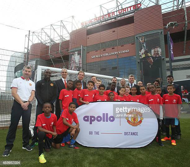Former players Denis Irwin and Andy Cole of Manchester United Head of Marketing Jonathan Rigby and Marco Paracciani Chief Marketing Officer of Apollo...