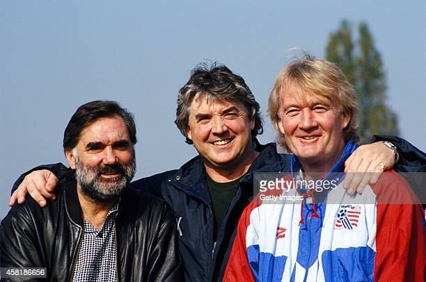 Former players George Best Joe Kinnear and Rodney Marsh pose at a photocall in London on October 19 1994 in London England