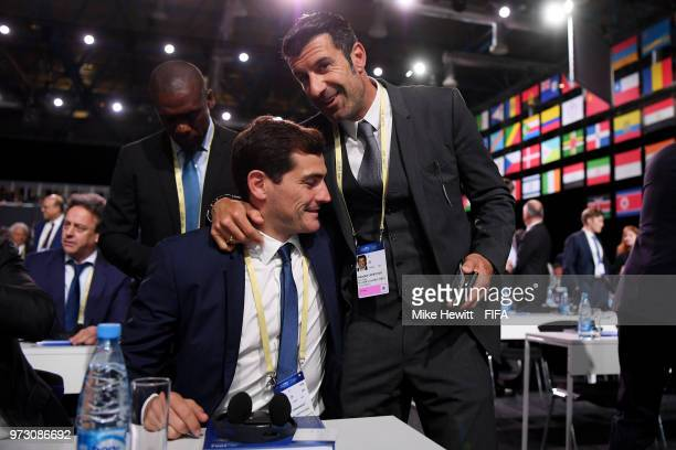 Former players Iker Casillas and Luis Figo attend the 68th FIFA Congress at the Moscow Expocentre on June 13 2018 in Moscow Russia