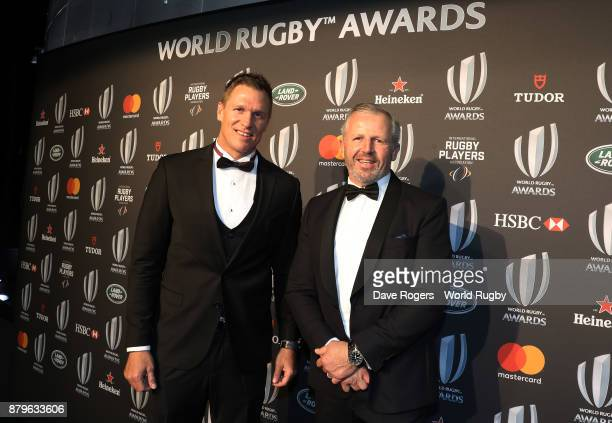 Former players Jean de Villiers of South Africa and Sean Fitzpatrick of New Zealand attend the World Rugby via Getty Images Awards 2017 in the Salle...