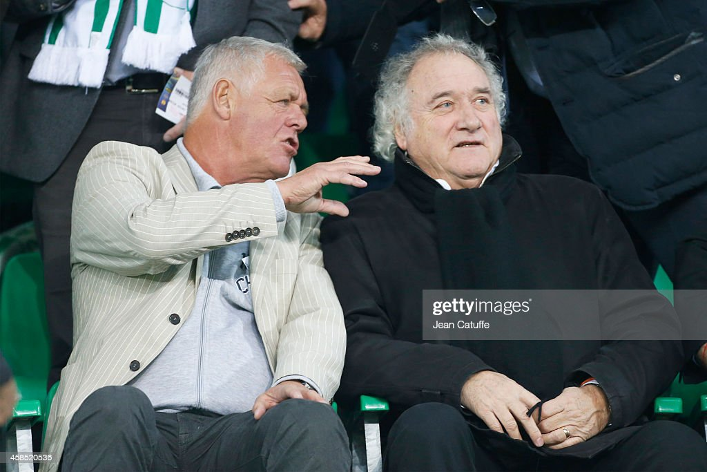 Former players Johnny Rep and Herve Revelli attend the UEFA Europa League Group F match between AS Saint-Etienne and FC Internazionale Milano on November 6, 2014 in Saint-Etienne, France.