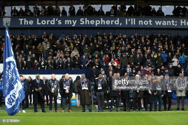 Former players line up for Cyrille Regis Tribute prior to the Premier League match between West Bromwich Albion and Southampton at The Hawthorns on...