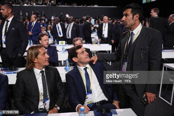 Former players Miguel Salgado Iker Casillas and Luis Figo attend the 68th FIFA Congress at the Moscow Expocentre on June 13 2018 in Moscow Russia