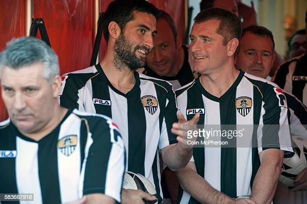 Former players Mike Edwards and Tommy Johnson waiting in the tunnel at Meadow Lane, home of Notts County FC before the kick-off at a special Legends...