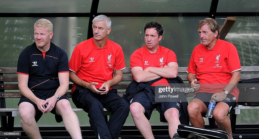 Former players of Liverpool Ian Rush, Robbie Fowler and Kenny Dlaglish watch the training session at Princeton University on July 28, 2014 in Princeton, New Jersey.