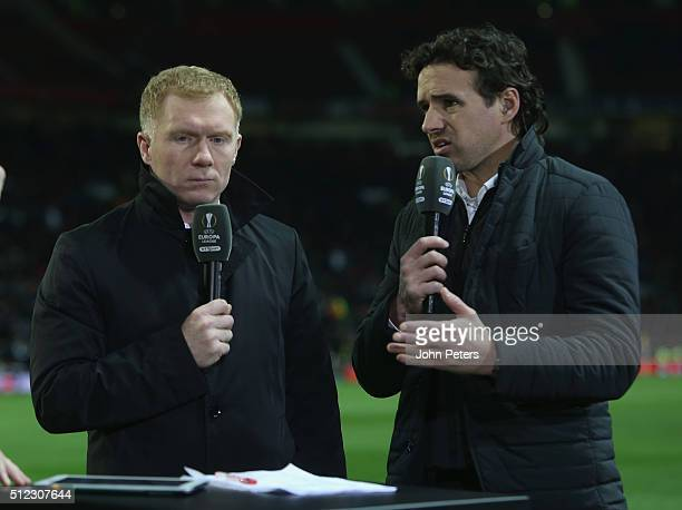 Former players Paul Scholes and Owen Hargreaves of Manchester United speaks on television at halftime during the UEFA Europa League match between...