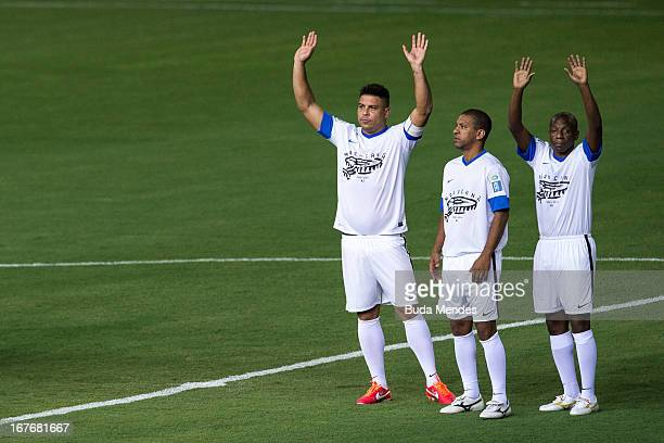 Former players Ronaldo Djalminha and Amaral during a test event for the FIFA Brazil 2013 Confederations Cup and the FIFA Brazil 2014 World Cup at the...