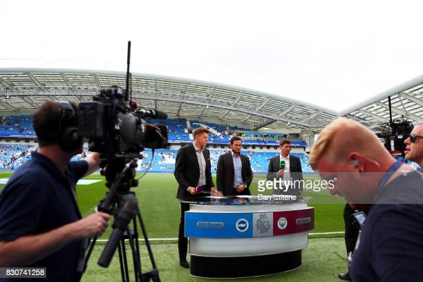 Former players Steven Gerrard and Frank Lampard stand next to Jake Humphrey as they prepare to broadcast live from the touchline inside the stadium...