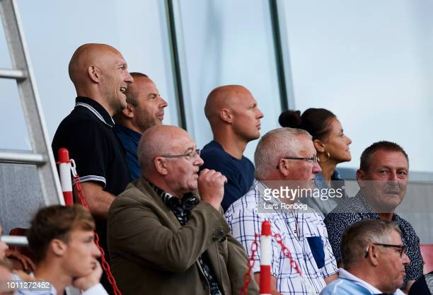 Former players Thomas Gravesen watching the game during the Danish Superliga match between Vejle Boldklub and FC Midtjylland at Vejle Stadion on...