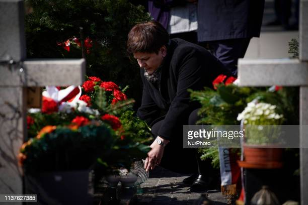 Former PM and current Deputry PM Beata Szydlo is seen attending a commemoration ceremony at the Powazki military cemetery in Warsaw Poland on April...